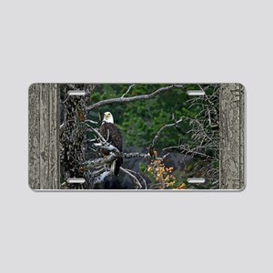 Old Cabin Window Bald Eagle Aluminum License Plate