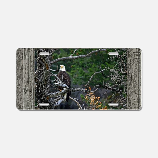 Old Cabin Window Bald Eagle Aluminum License Plate
