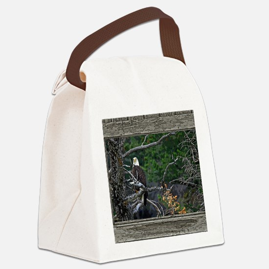 Old Cabin Window Bald Eagle Canvas Lunch Bag