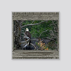 "Old Cabin Window Bald Eagle Square Sticker 3"" x 3"""