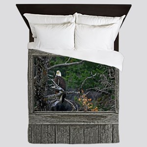 Old Cabin Window Bald Eagle Queen Duvet