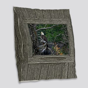 Old Cabin Window Bald Eagle Burlap Throw Pillow