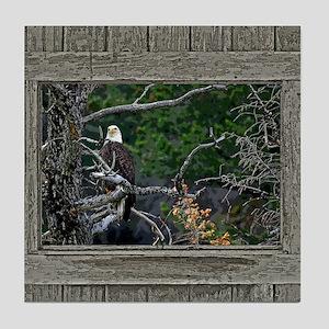 Old Cabin Window Bald Eagle Tile Coaster