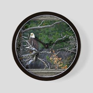 Old Cabin Window Bald Eagle Wall Clock