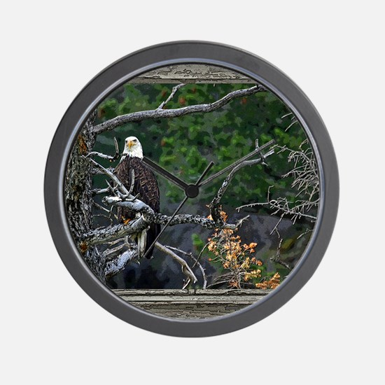 Old Cabin Window Bald Eagle Wall Clock