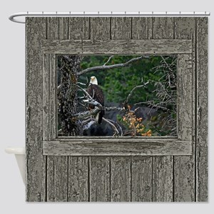 Old Cabin Window Bald Eagle Shower Curtain