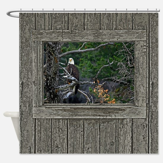 Old Cabin Window Bald Eagle Shower Curtain
