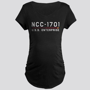 USS Enterprise Original Light Maternity Dark T-Shi