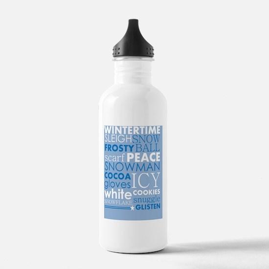 Wintertime Subway Art Water Bottle