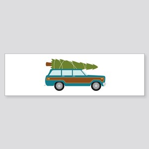 Christmas Tree Station Wagon Car Bumper Sticker