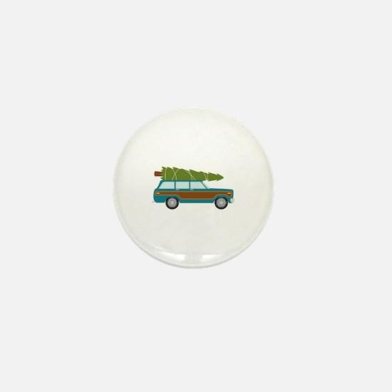 Christmas Tree Station Wagon Car Mini Button
