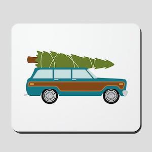 Christmas Tree Station Wagon Car Mousepad