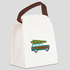 Christmas Tree Station Wagon Car Canvas Lunch Bag