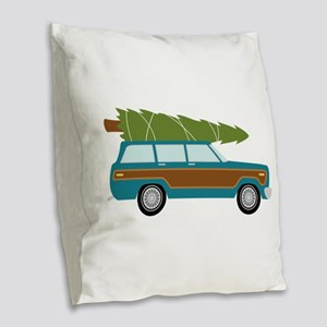Christmas Tree Station Wagon Car Burlap Throw Pill