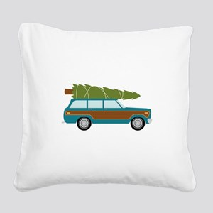 Christmas Tree Station Wagon Car Square Canvas Pil