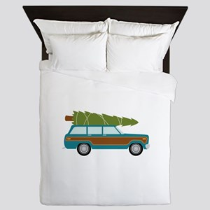 Christmas Tree Station Wagon Car Queen Duvet
