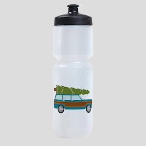 Christmas Tree Station Wagon Car Sports Bottle