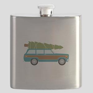 Christmas Tree Station Wagon Car Flask