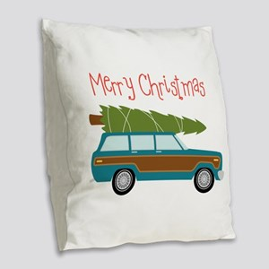 Merry Christmas Burlap Throw Pillow