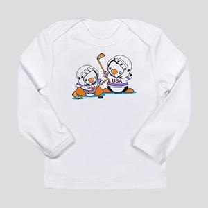 Ice Hockey Penguins Long Sleeve Infant T-Shirt