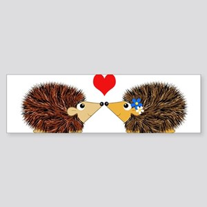 Cuddley Hedgehog Couple with Heart Bumper Sticker
