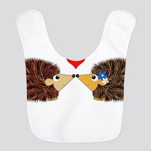 Cuddley Hedgehog Couple with Heart Bib