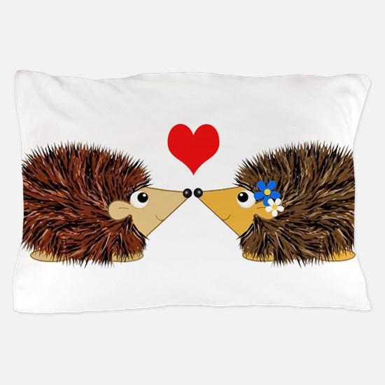 Cuddley Hedgehog Couple with Heart Pillow Case