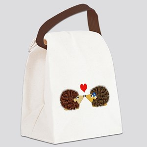 Cuddley Hedgehog Couple with Hear Canvas Lunch Bag