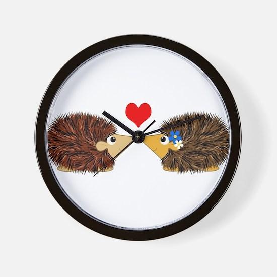 Cuddley Hedgehog Couple with Heart Wall Clock