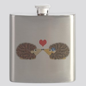 Cuddley Hedgehog Couple with Heart Flask