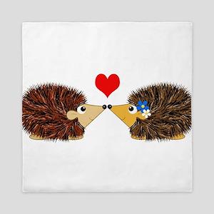 Cuddley Hedgehog Couple with Heart Queen Duvet