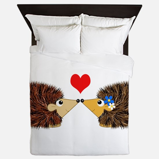 Cuddley Hedgehog With Heart Queen Duvet
