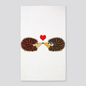 Cuddley Hedgehog Couple with Heart Area Rug