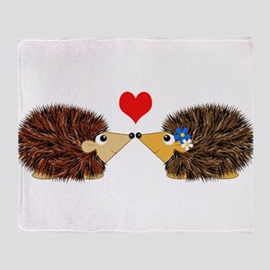 Cuddley Hedgehog Couple with Heart Throw Blanket