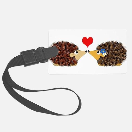 Cuddley Hedgehog Couple with Hea Luggage Tag