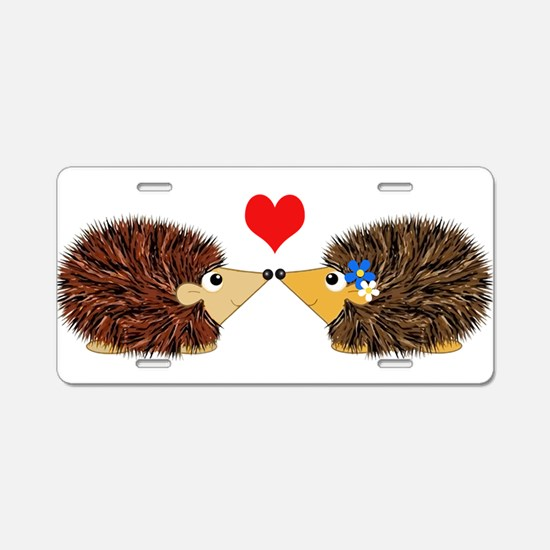 Cuddley Hedgehog Couple wit Aluminum License Plate
