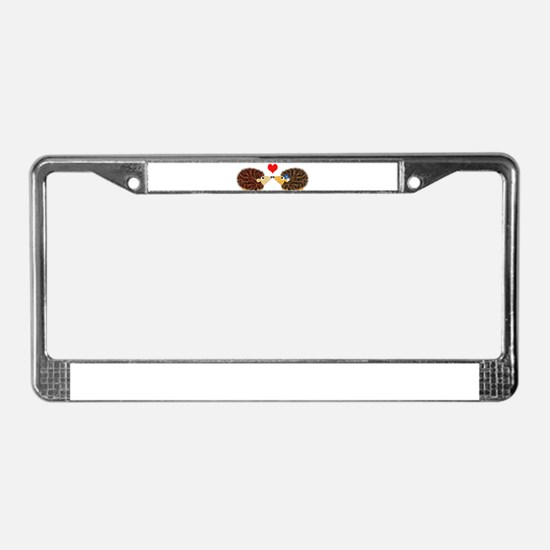Cuddley Hedgehog Couple with H License Plate Frame