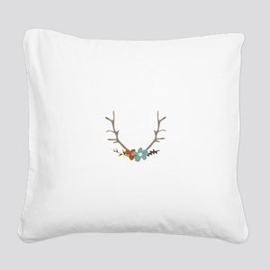 Floral Antlers Square Canvas Pillow