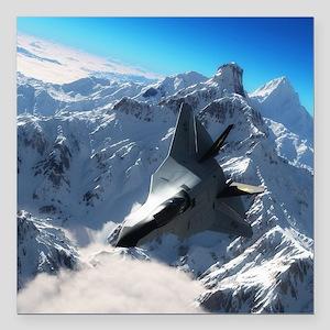 "F-22 Raptor Square Car Magnet 3"" x 3"""