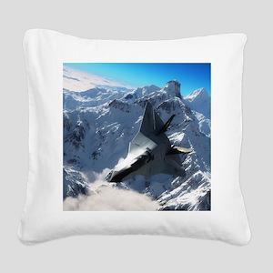 F-22 Raptor Square Canvas Pillow