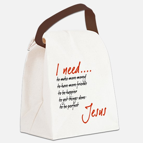 I Need Jesus Black and Red Canvas Lunch Bag