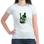 Girls Jr Ringer T - Lee Coulter Green Print