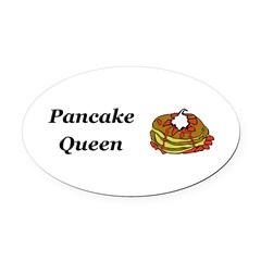 Pancake Queen Oval Car Magnet