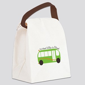 Wheels On Bus Canvas Lunch Bag