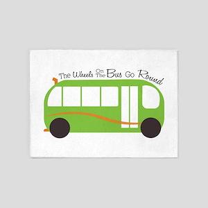 Wheels On Bus 5'x7'Area Rug