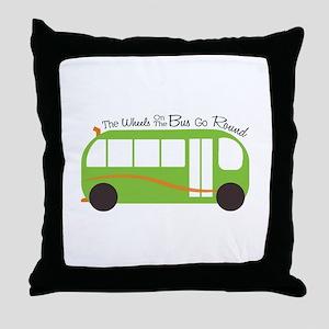 Wheels On Bus Throw Pillow