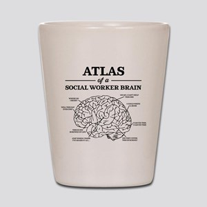 Atlas of a Social Worker Brain Shot Glass