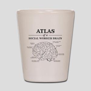 Atlas of a Social Worker Brain Shot Glass