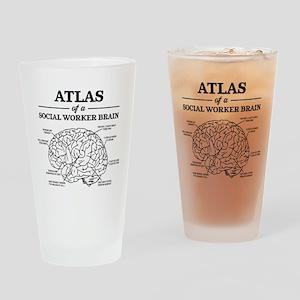 Atlas of a Social Worker Brain Drinking Glass
