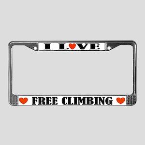 I Love Free Climbing License Plate Frame